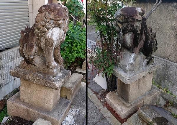 小戸神社の参道にある狛犬