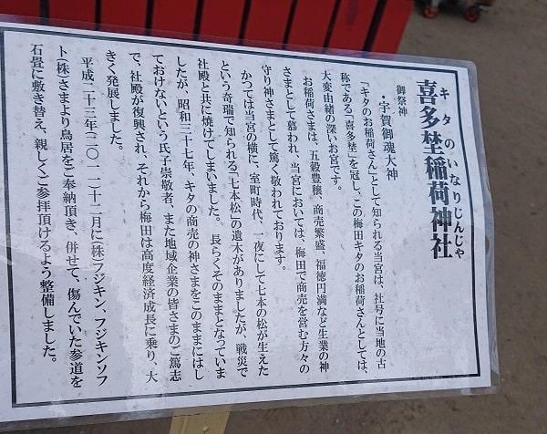喜多埜稲荷神社の由緒