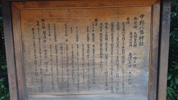 中野八幡神社の由緒