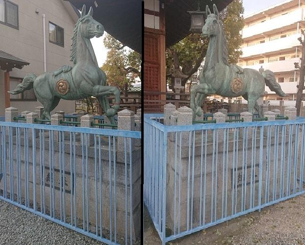 神明八幡神社の狛馬